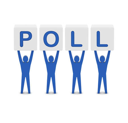 poll: Men holding the word poll. Concept 3D illustration.