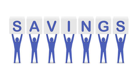 Men holding the word savings. Concept 3D illustration. illustration