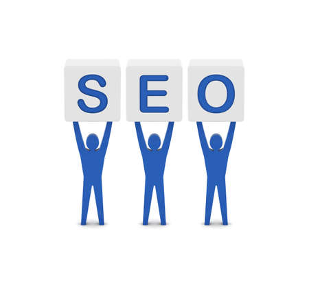 Men holding the word SEO. Concept 3D illustration. illustration
