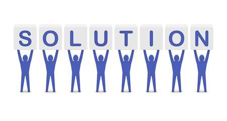 Men holding the word solution. Concept 3D illustration. illustration