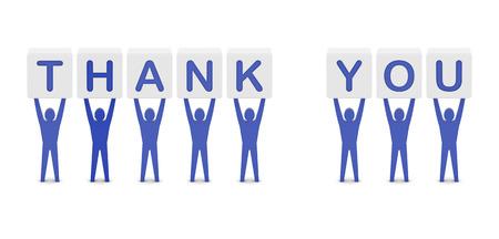 Men holding the phrase thank you. Concept 3D illustration. illustration