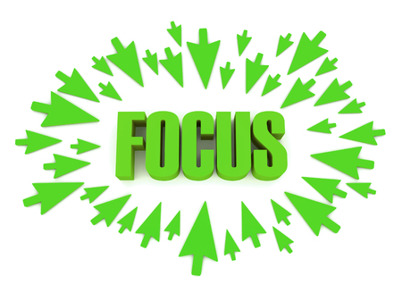 Arrows aimed at the word FOCUS. Concept 3D illustration. Stok Fotoğraf