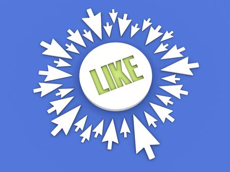 Arrows aimed at the word LIKE. Concept 3D illustration. Stok Fotoğraf