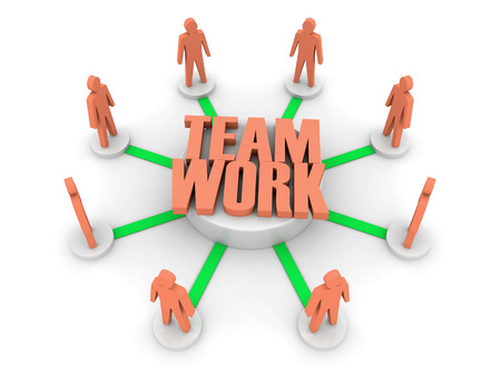 towards: Teamwork. Working towards a common target.  Concept 3D illustration.