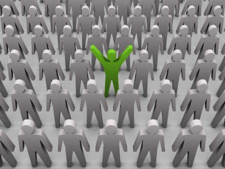 Unique person in crowd. Concept 3D illustration Standard-Bild