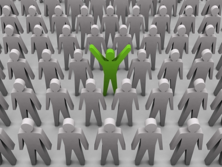Unique person in crowd. Concept 3D illustration illustration