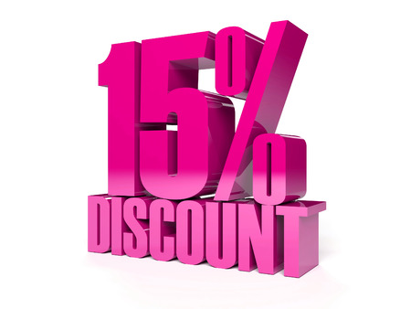 15 percent discount. Pink shiny text. Concept 3D illustration. Stock Illustration - 22491819