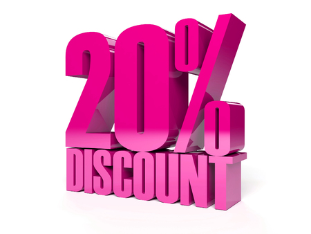 20 percent discount. Pink shiny text. Concept 3D illustration. Stock Illustration - 22491876