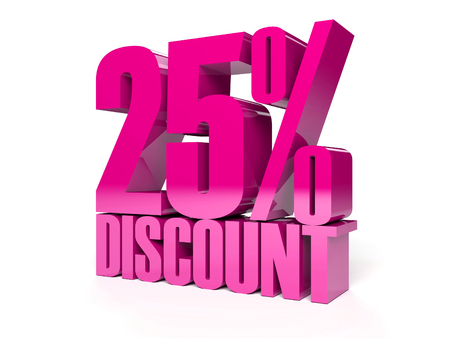 25 percent discount. Pink shiny text. Concept 3D illustration. Stock Illustration - 22491874