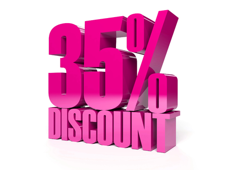 35 percent discount. Pink shiny text. Concept 3D illustration. Stock Illustration - 22491873