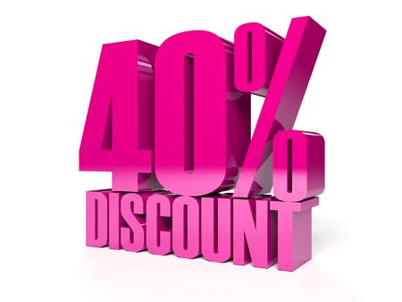 40 percent discount. Pink shiny text. Concept 3D illustration.