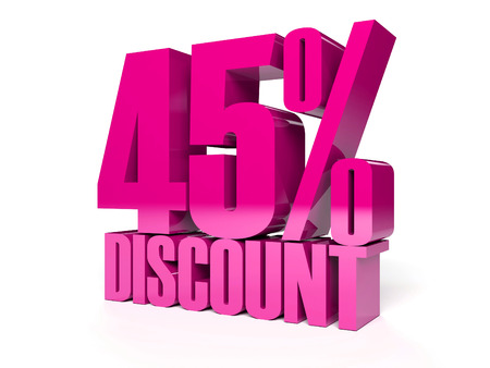 45 percent discount. Pink shiny text. Concept 3D illustration. illustration