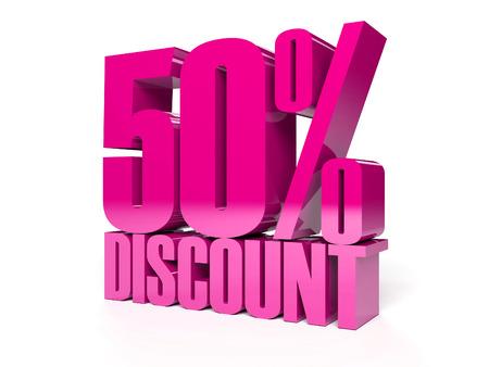 50 percent discount. Pink shiny text. Concept 3D illustration. Stock Illustration - 22491880
