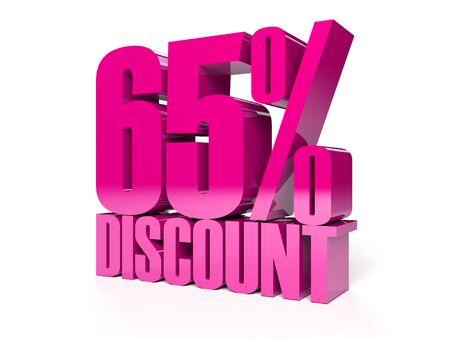 65 percent discount. Pink shiny text. Concept 3D illustration. Stock Illustration - 22491879