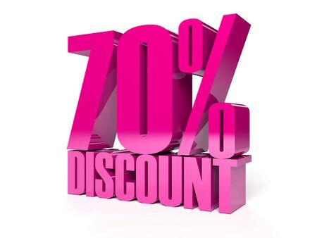 70 percent discount. Pink shiny text. Concept 3D illustration. Stock Illustration - 22491881