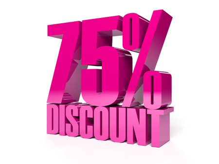 75 percent discount. Pink shiny text. Concept 3D illustration. Stock Illustration - 22491883