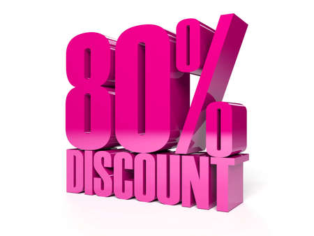 80 percent discount. Pink shiny text. Concept 3D illustration. Stock Illustration - 22491887