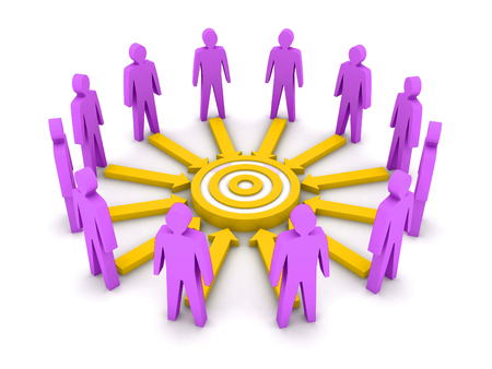 common target: Group of 3D people working towards a common target. Concept illustration. Stock Photo