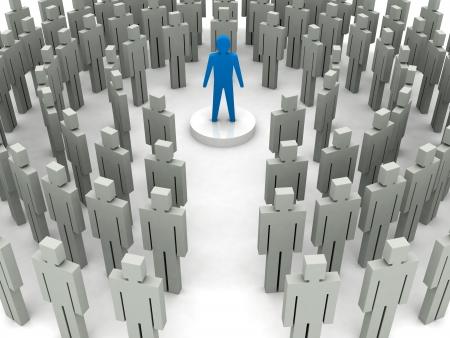 Leader in der Menge. Konzept 3D-Darstellung.