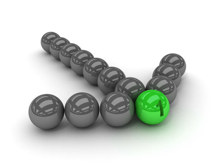 Grey arrow of the balls with the green leader in front. Concept 3D illustration illustration