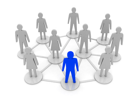 Mensen verbindingen. Uniek, leiderschap. Concept 3D illustratie Stockfoto