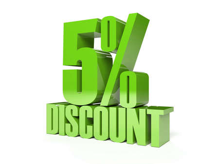 5 percent discount. Green shiny text. Concept 3D illustration. illustration