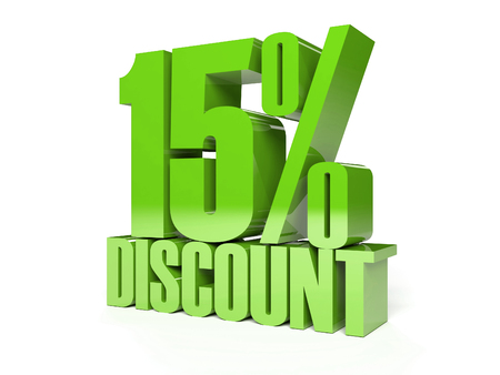 15 percent discount. Green shiny text. Concept 3D illustration.