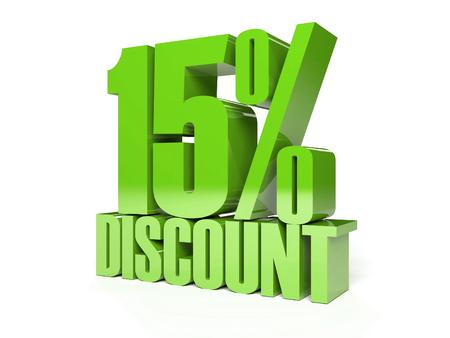 15 százalékos kedvezmény. Zöld fényes szöveget. Koncepció 3d illusztráció. Stock fotó