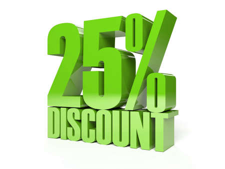 25 percent discount. Green shiny text. Concept 3D illustration. illustration