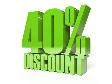 40 percent discount. Green shiny text. Concept 3D illustration. illustration