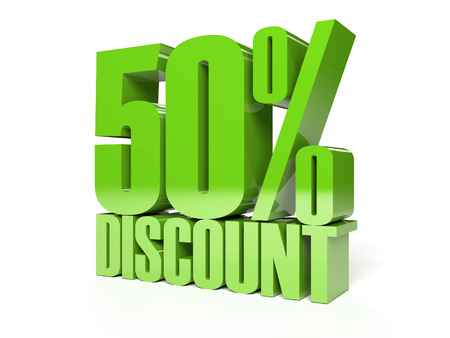 50 percent discount. Green shiny text. Concept 3D illustration. illustration