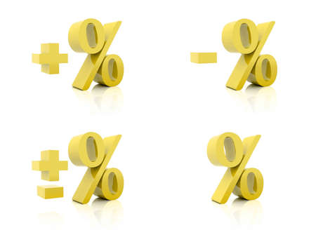 Set of 3D Percent. Plus, minus. Golden on white background. Concept 3D illustration illustration