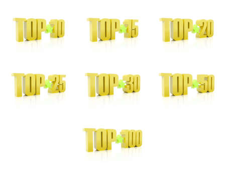 Set of Tops. Golden on white background. 3D illustration. illustration