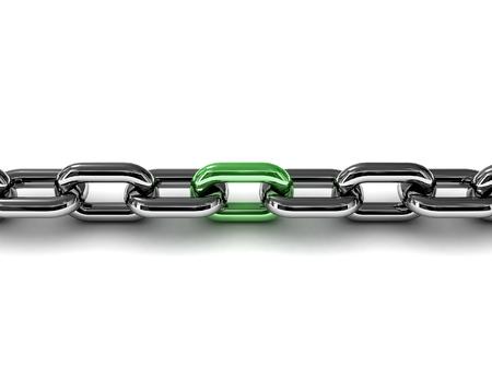 Green link. Metaphor of communication. Concept 3D illustration. Stock fotó