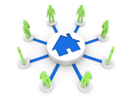House problem connects people. Hostel. Concept 3D illustration. Stock Photo
