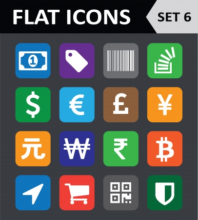 Universal Colorful Flat Icons. Set 6. Vector