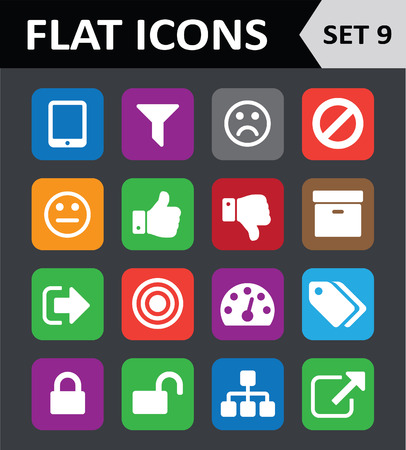 Universal Colorful Flat Icons. Set 9.