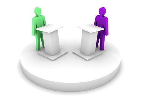 confrontation: Debate. Speaking from a tribune, confrontation. Concept 3D illustration.
