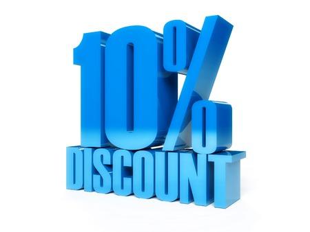10 percent discount. Blue shiny text. Concept 3D illustration. 免版税图像