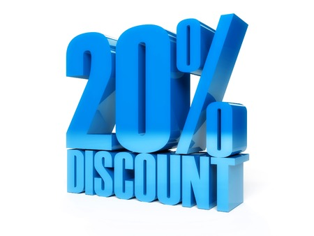20 percent discount. Blue shiny text. Concept 3D illustration.
