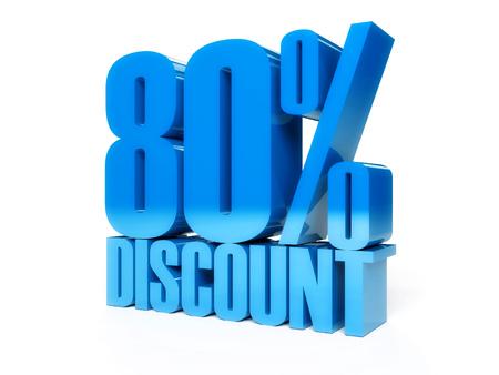 80 percent discount. Blue shiny text. Concept 3D illustration.