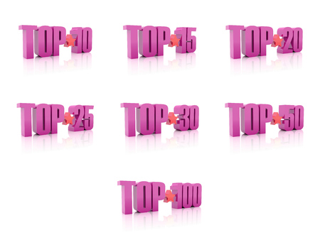 Set of Tops. Pink on white background. 3D illustration. illustration
