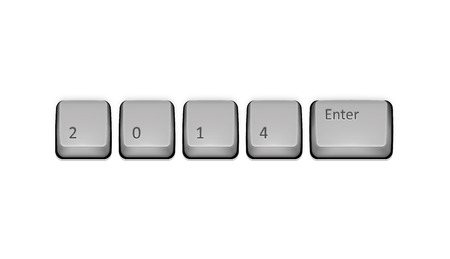 2014 on keyboard and enter key. Vector concept illustration. Vector