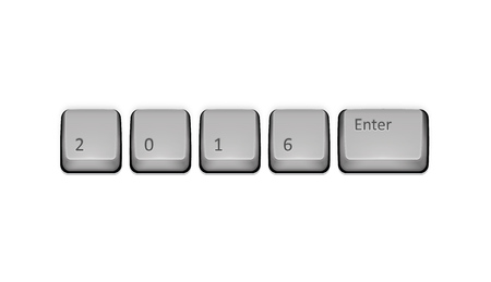 2016 on keyboard and enter key. Vector concept illustration. Vector