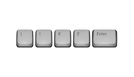 Word Like on keyboard and enter key. Vector concept illustration. Vector
