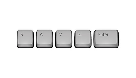Word Save on keyboard and enter key. Vector concept illustration.