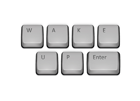 Phrase Wake Up on keyboard and enter key. Vector concept illustration. Çizim