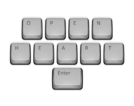 Phrase Open Heart on keyboard and enter key. Vector concept illustration. Vector