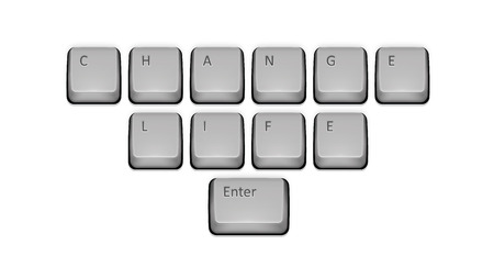 Phrase Change Life on keyboard and enter key. Vector concept illustration. Vector