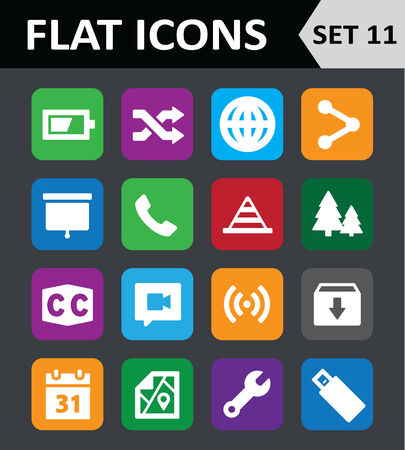 caption: Universal Colorful Flat Icons.